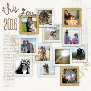 year-in-review scrapbook page