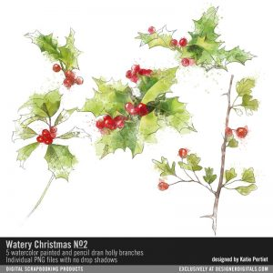 watercolor christmas holly instant download