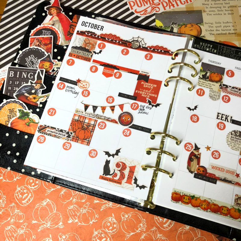 Simple Vintage Halloween Planner Stickers