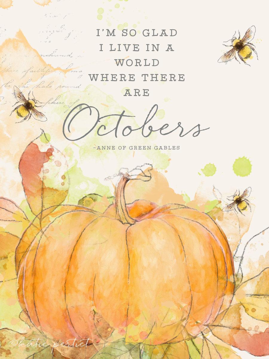 Free Printable Pocket Card Quote October Pumpkin