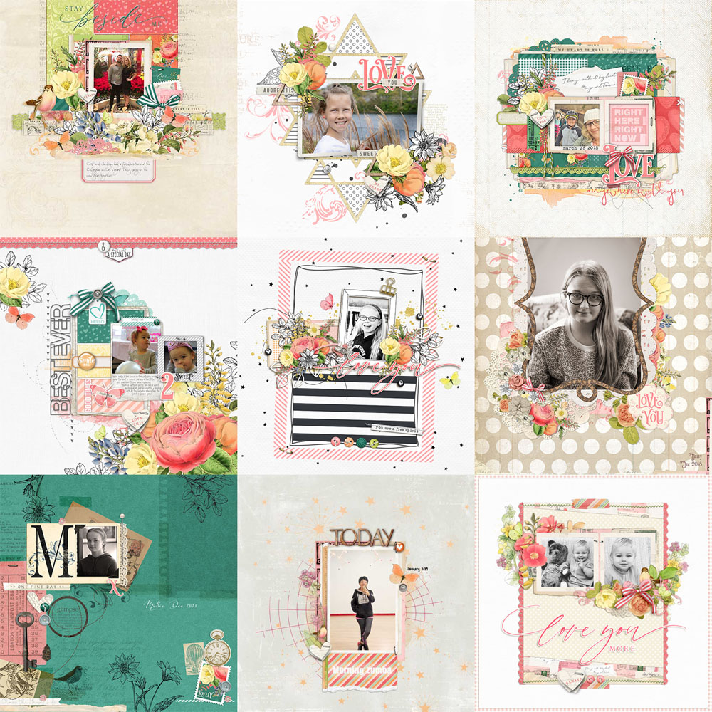 Love Letters Scrapbook Page Layouts