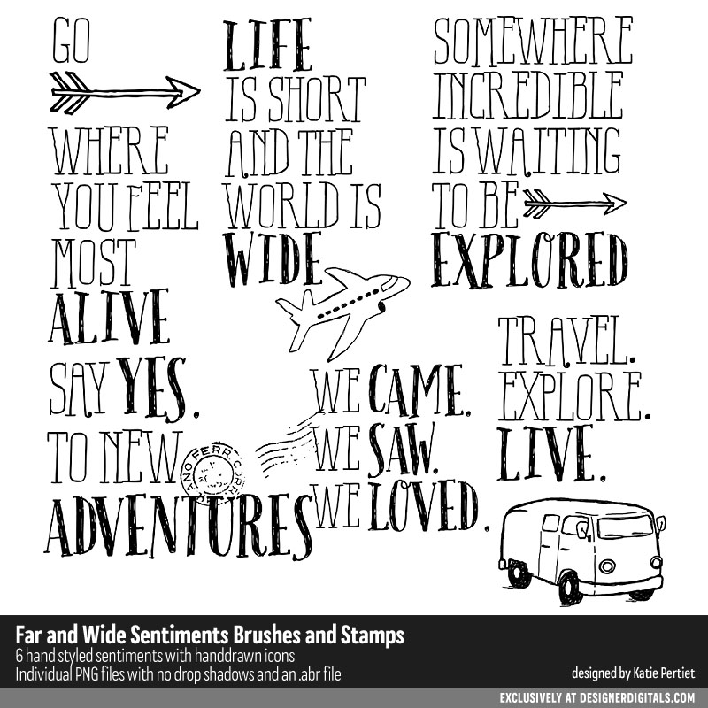 Travel Scrapbook Page Titles Drawings