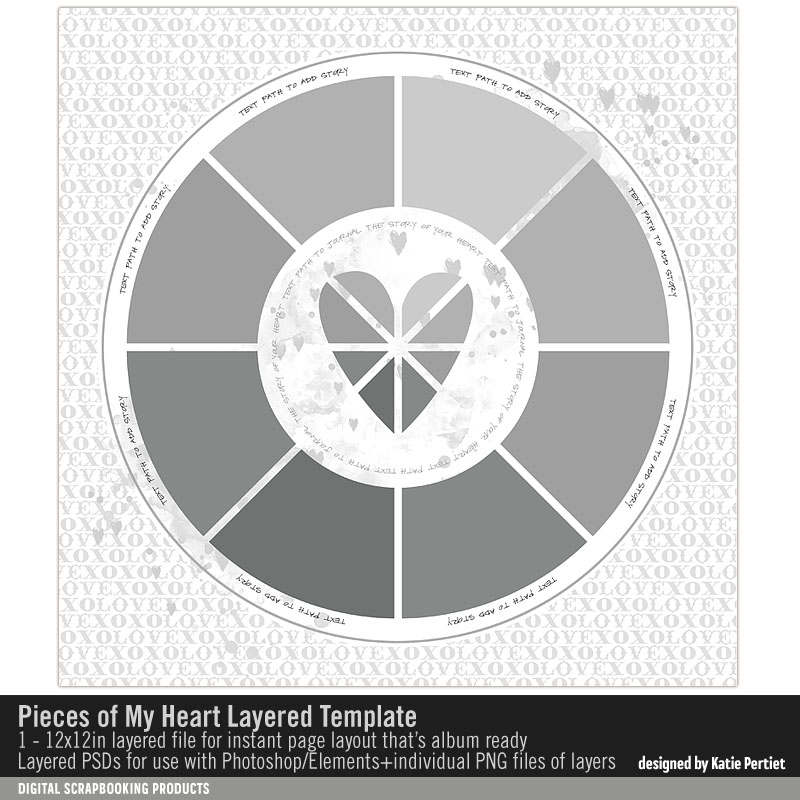 Pieces of My Heart Valentines Scrapbook Page Layout