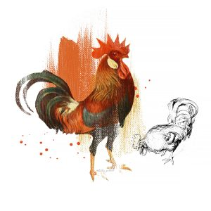 Katie pertiet Painted Rooster