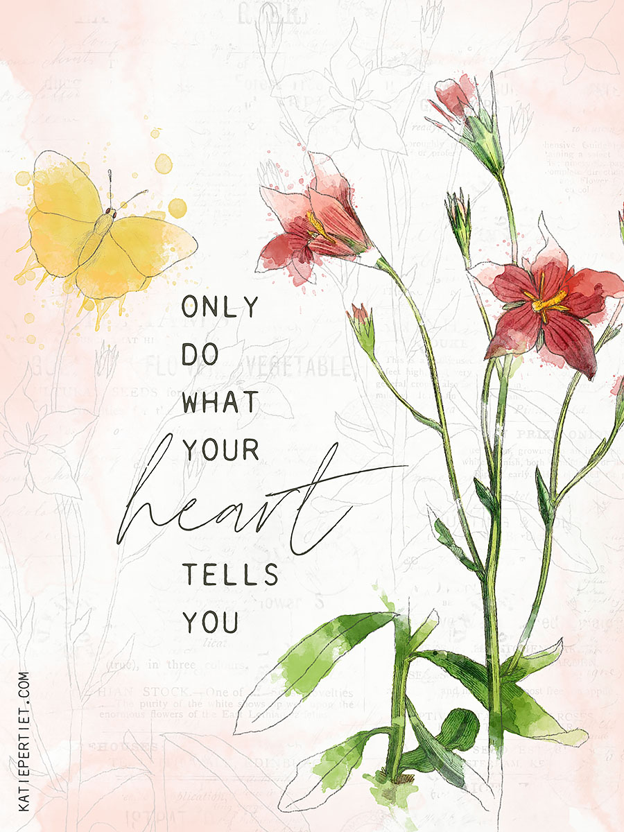 Katie Pertiet watercolor botanicals quote card