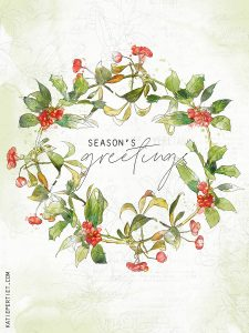 Katie Pertiet Watercolor Christmas Holly Wreath