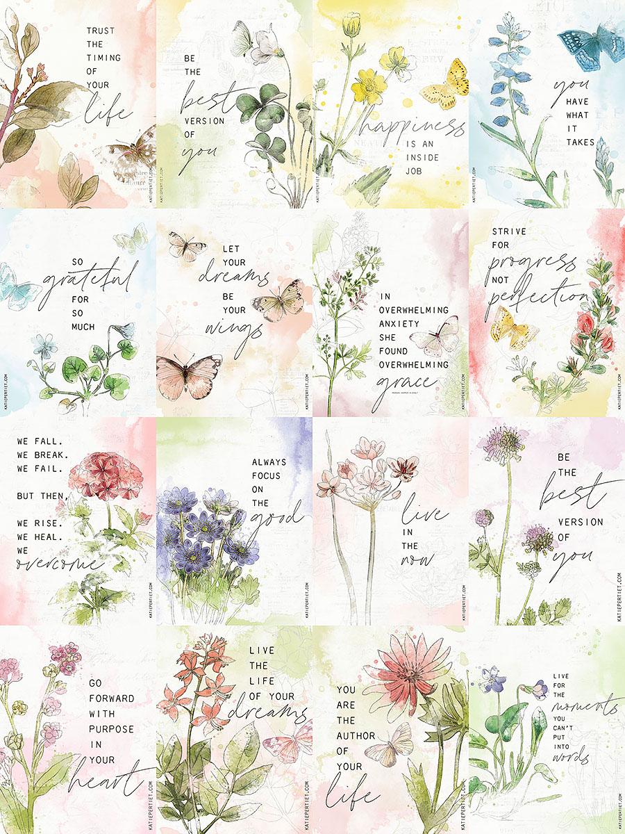Katie Pertiet watercolor botanical quote cards