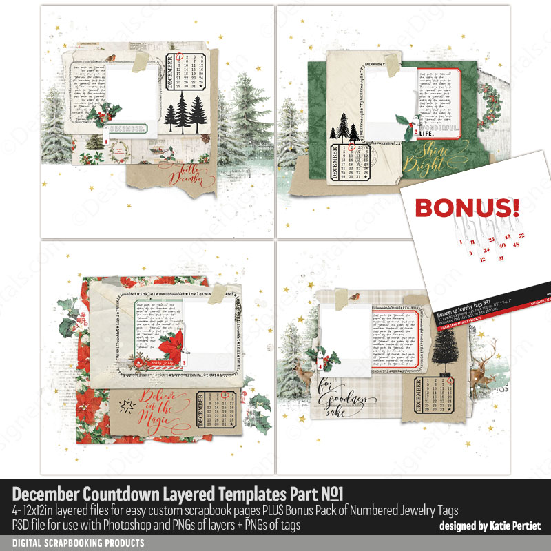 Katie Pertiet December Daily Templates