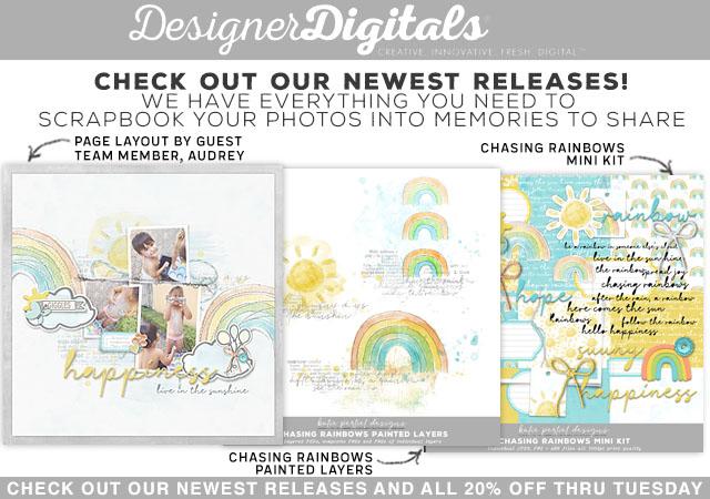 rainbow digital scrapbook kit instant download