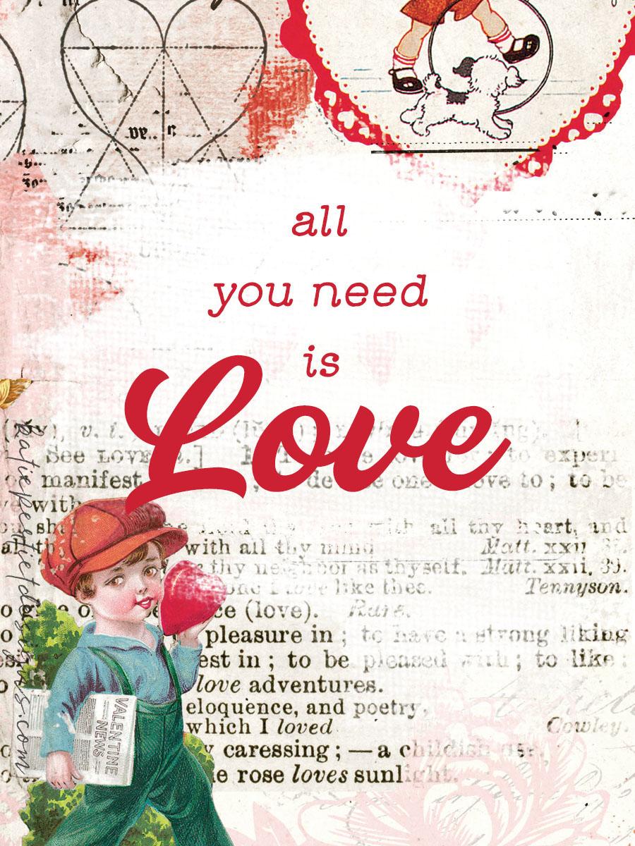 Katie Pertiet Vintage Valentines Card