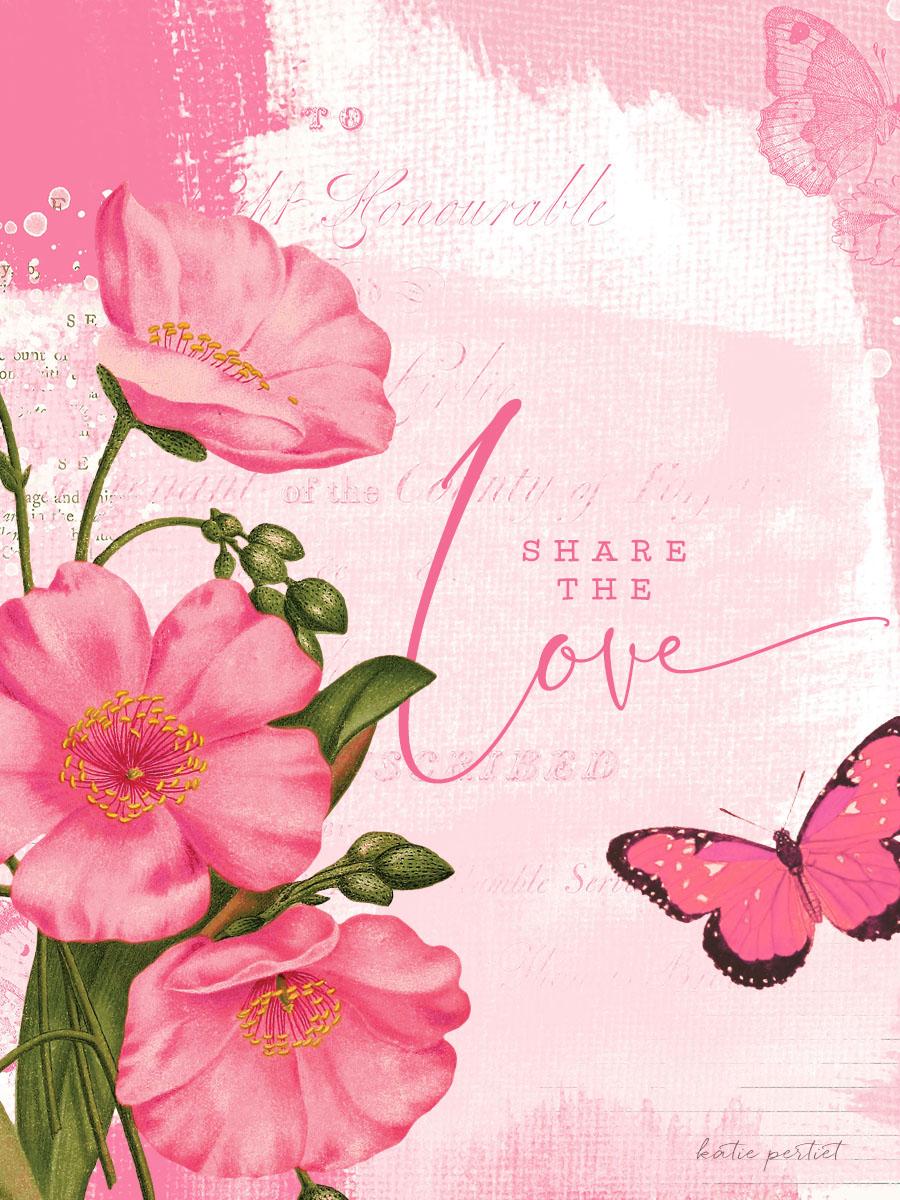 Katie Pertiet Designs Pink Botanical Card